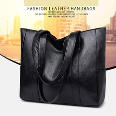 New all-in-one handbag tote bag simple one-shoulder student business bag black as photo