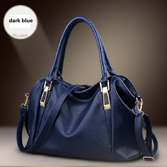 Soft leather single shoulder handbag cross portable fashion simple all-purpose bag dark blue as photo