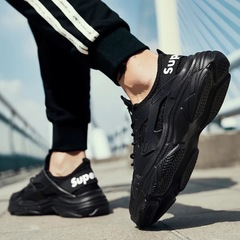 2019 New  Fashionable Casual Breathable Comfortable Non-slip Flyknit Sports Outdoor Running Shoes black 36