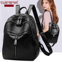Ladies Fashionable  Waterproof Wear-Resistant Soft Comfortable Light Backpack/Shoulder Bag/Hand Bag black2 as photo