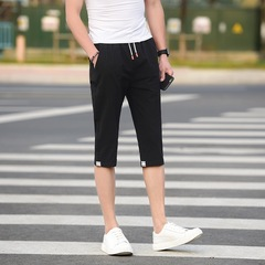 Mens Summer Modish Fashionable Casual Cool Soft Pure Cotton Cropped Trousers Three Quarter Pants black m