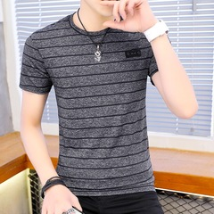 GreatSale Mens Bigsize Summer Business Casual Breathable Skin Friendly  Slim Ice Silk Stripe T-shirt gray m polyester fiber