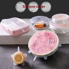 6Pcs/Set Food-grade silicone fresh  universal bowl cover sealed refrigerator fresh cover kitchen white as photo