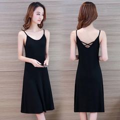 4 Styles 2019 New Ladies Sexy Elegant Modish Elastic Anti-crease Not Ball Slim Slip Backless Dress s black1