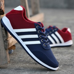 Mens Modish Soft Light Breathable Comfortable Non-slip Canvas Sports Leisure Shoes blue+red 40