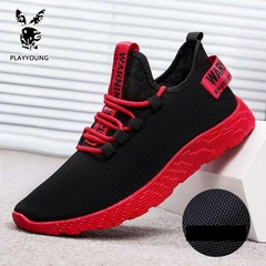 Great Promotion Mens Fashionable Breathable Comfortable Super soft Super light Flyknit Sports Shoes black+red 39