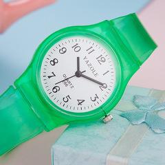 Quality goods 266 quartz watch transparent fashion student table boy girl child watch kid watch green one size