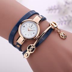 Fashion Ring Ladies Watch PU Ribbon Watch Ladies Bracelet Watch Dark blue one size