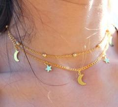 Multi-layer simple and delicate lasso moon star necklace gold as picture