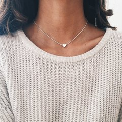 Jewelry Simple Trendy Women Street Accessories Copper Heart Love Clavicle Necklace silver as picture