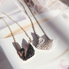 Swan Necklace Clavicle Crystal Pendant Korean Fashion New Chain black as picture