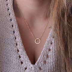 European and American fashion big brand temperament clavicle chain ring necklace necklace gold as picture