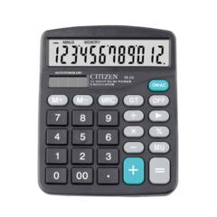 Solar Calculator 12-digit Display Dual Power Black Calculator