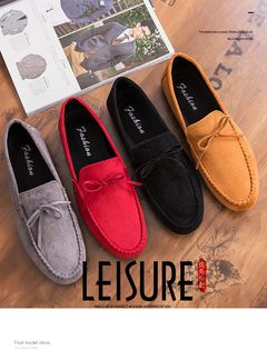 Fashion Summer Style Soft Moccasins Men Loafers High Quality Genuine Leather Shoes Men Flats Driving red 44