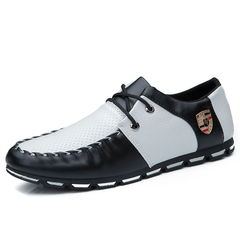 2018 new summer England small leather shoes peas casual shoes wild Korean fashion shoes black and white 40