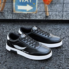 Men's PU Leather Casual Breathable Shoes Mesh Flats Low Laces Fashion Sneakers Sports Skate Shoes black 39