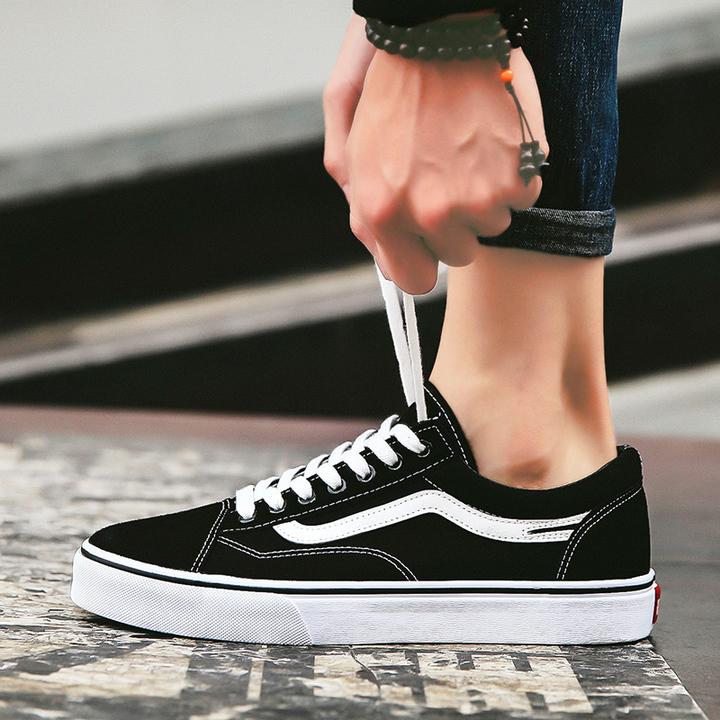 ce59b9ccea56 Men's Fashion Casual Shoes Men Comfortable Breathable Shoes For Men British  Style Flat black 39