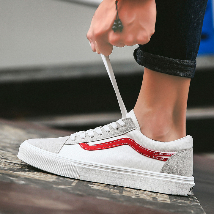 Men's Fashion Casual Shoes Men Comfortable Breathable Shoes For Men British Style Flat white+red 44