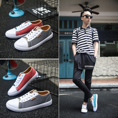 Casual Shoes Comfortable Flats Sneakers For Men Youth Fashion Mens Shoes  Casual Canvas Shoes gray+red 44