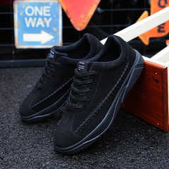 New Men Casual Shoes Breathable Wear Resistant Comfortable Summer  Round Toe Lace up Flat Snekaers black 42