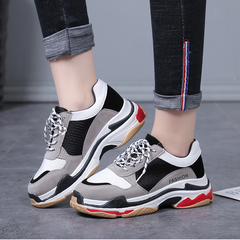 Women Comfortable Sneaker Shoes Pink Chunky Sneakers Platform Wedge Wedges Shoes for Women black 36