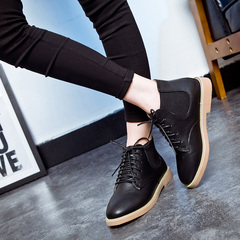 New Hot Style Fashion Women Boots Round Head Thick Bottom Pu Leather Waterproof Woman Martin Boots black 39