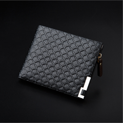 Men's Horizontal Casual Wallet Enterprise Fashion Embossed Metal Clip Side Zipper Wallet black one size