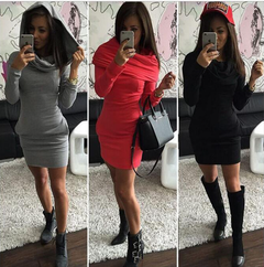 Three-color Hooded Sweatshirt With Butt Long Sleeve Thermal Dress m red