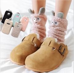 Coral Fleece Socks Embroidery Plus Fleece Snow Floor Socks Stereo Ears Half Fleece Home Sleep pink one size