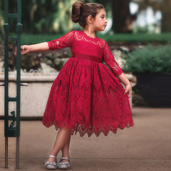 Girls  Flower Lace Embroidery Kids Dresses for Girl Princess Party Ball Gown Children Clothing Wear red 100