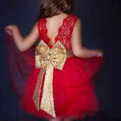 Girls Sundress Princess Clothes Sequins Bowknot Sleeveless Backless Party Dress for Girls Clothes red 80