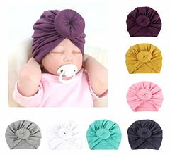 Fashion Donut Baby Hat Newborn Elastic Cotton Baby Beanie Cap Multicolor Infant Turban Hats 1 PC white 1