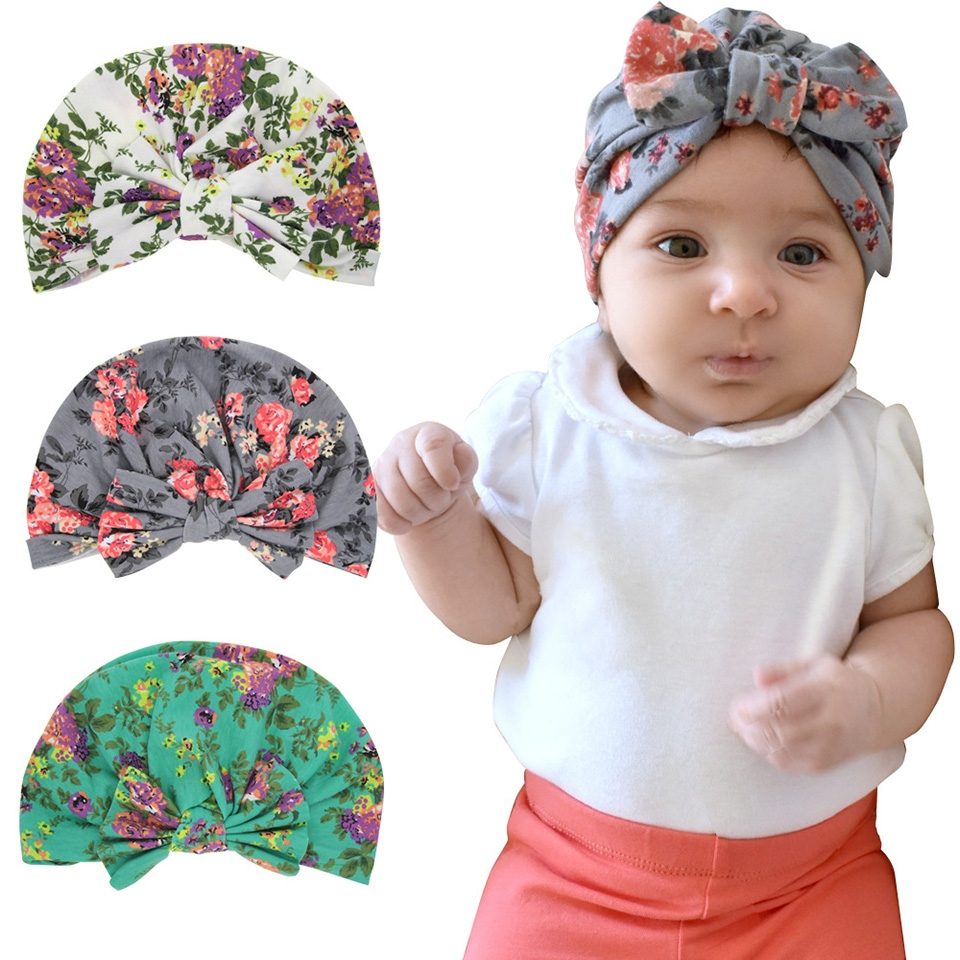 ... Baby Turban Hats for Girls 10 Colors Cotton Infant Beanie Cap Hat  circumference 39cm b071754d5df