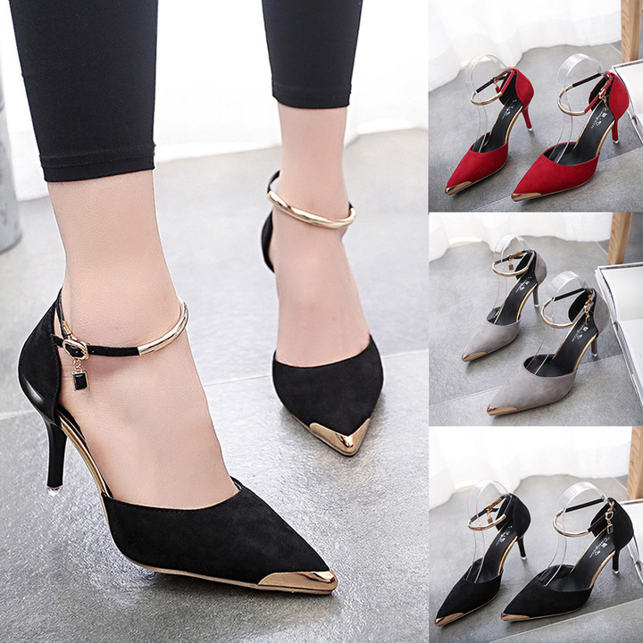 Fashion Women Flock Pointed Toe Sandals Ankle High Thin Heels Party Single Shoes chaussure femme red 5