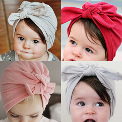 New Solid color Baby Hat with Bow Cotton Turban Infant Beanie Baby Cap red one size
