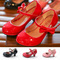 Princess Shoes Girls Party Bow Shoes Shiny Solid Color Mid-heeled Fashion Shoes for Kids red 9.5