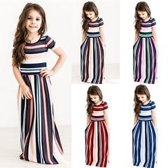 Fashion Cute Striped Dress Baby Girls Hit Color Long Dress Children Casual Beachwear Kids Beach as the picture 80