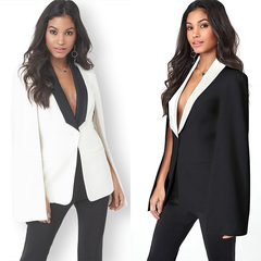 Medium - length cape jacket jacket for office  women's suit with matching western color shawl jacket white s