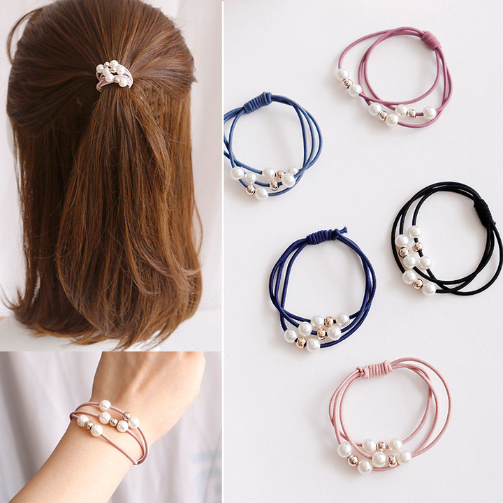 Multicolor hair bands elastic rubber bands pearl tied rope gift color random delivery