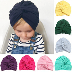 New Cute Baby Hat Cotton Soft Turban Knot Girl Summer Hat Bohemian style Kids Newborn Cap for girls rose red one size