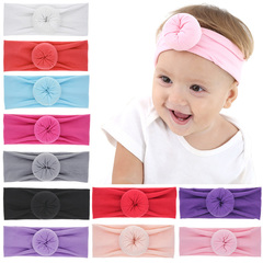 Hair accessories sales new children's circle rabbit ears baby ball head scarf children's headwear white one size