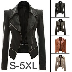 Plus Women Fashion Long Sleeve Zipper New Stylish Slim Leather Jackets Coat Ladies Tops Motorcycle black s