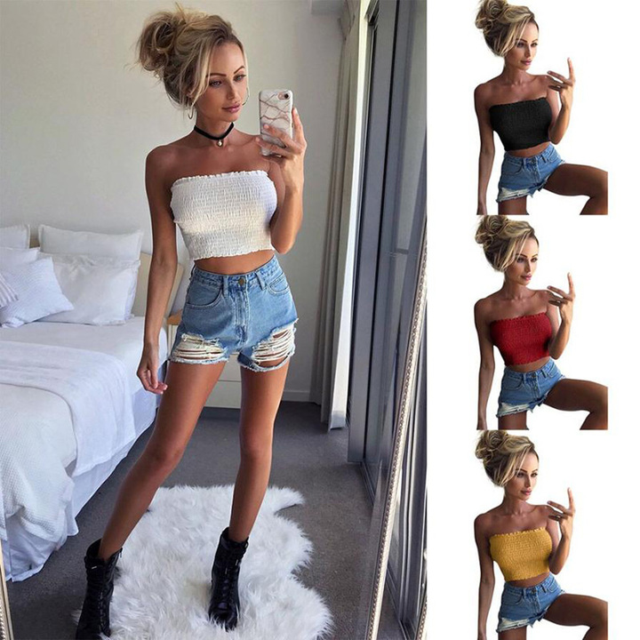 4561bf9a34 Women Strapless Elastic Boob Band Tube Breast Wrap Casual Solid Ladies Tank  Bras lingerie Crop Tops
