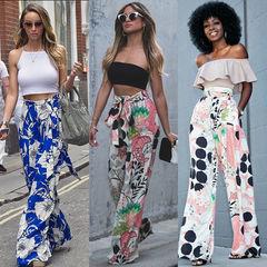 Casual Fashion Sweet Women Ladies Elastic Waist HighWaist Floral Print Straight Loose Wide Leg Pants bule S