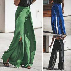 Fashion Women's Palazzo Pants Long Loose High Waist Zipper Solid Loose Wide Leg Trousers Ladies bule s