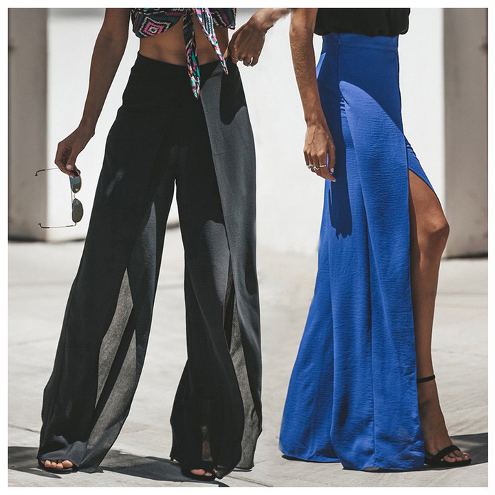 d442ad74f2855 Fashion Women s Palazzo Pants Long Loose High Waist Zipper Solid Loose Wide  Leg Trousers Ladies black