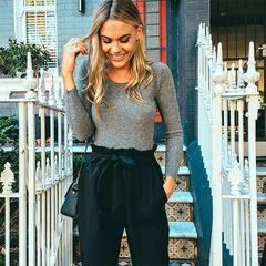 Fashion Casual Women ladies High Waist Elastic Harem Pants Solid Show Thin Loose bowknot Long Pants Khaki s