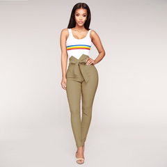 Fashion women sexy office lady bowknot trousers high Waist Harem Pants Bow Tie Drawstring Sweet khaki s