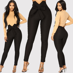 Fashion women sexy office lady bowknot trousers high Waist Harem Pants Bow Tie Drawstring Sweet black s