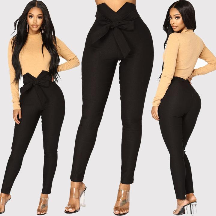 Fashion women sexy office lady bowknot trousers high Waist Harem Pants Bow Tie Drawstring Sweet black s